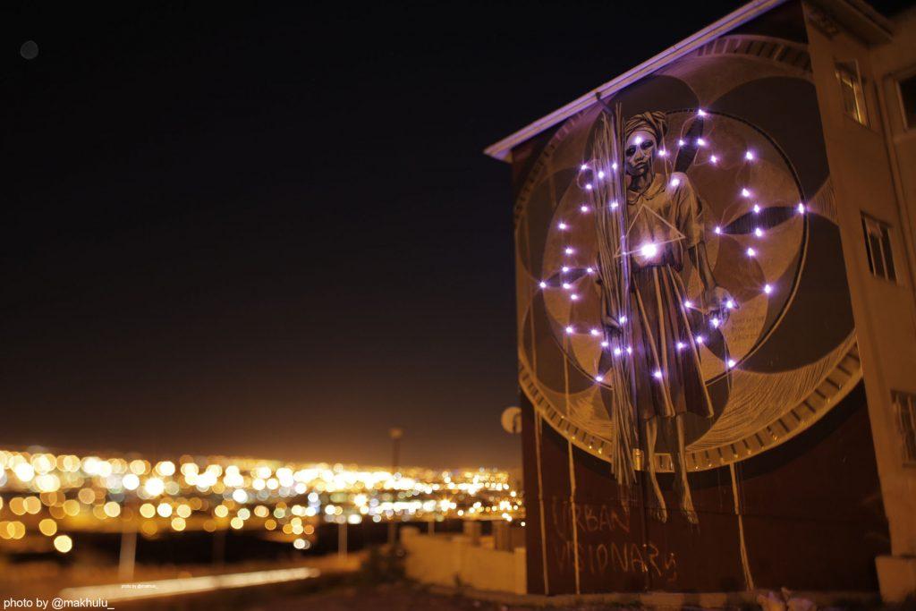 lights on Harvest mural for Anotherlightup by Faith47, photo Rowan Pybus