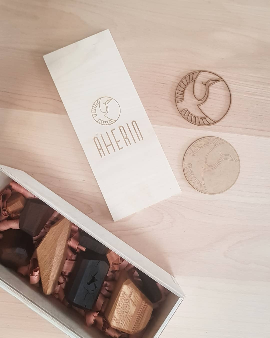 Aherin laser engraved wooden box: Cairn by Aherin, wooden balancing stones